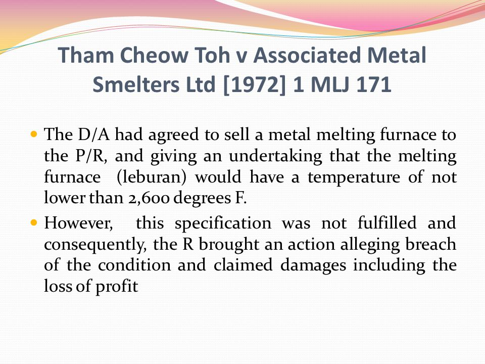 Tham Cheow Toh v Associated Metal Smelters Ltd [1972] 1 MLJ 171